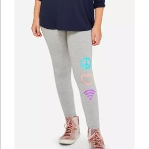 Girls Justice plus size  heather cotton leggings